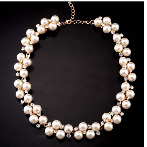 Full Rhinestones Pearl Necklace Jewelry