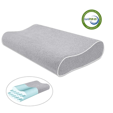 Height Adjustable Contour Memory Foam Pillow Gray Cover