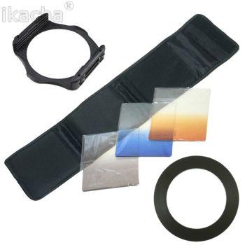 Camera Lens Filter Kit Gradient Blue Orange Gray + 1Pcs Adapter Ring + Filter Holder Set For Cokin P Series For All Camera