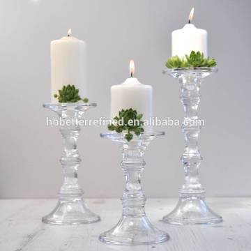 Tall Clear Glass Candlestick Pillar And Taper