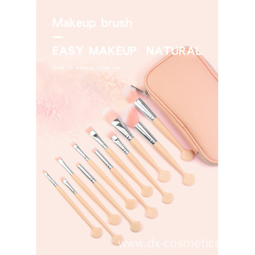 20 Pink Shell  Makeup Brushes Set