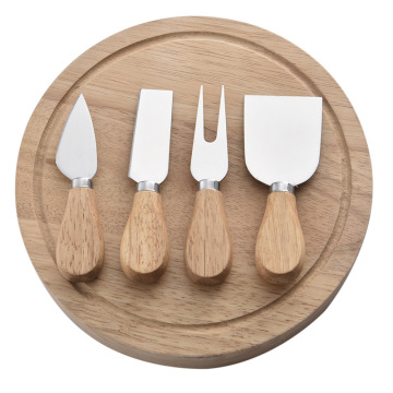 5pcs Cheese Knife Oak Wood Cheese Board Set