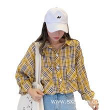 Autumn 2020 all-match small yellow fine plaid shirt