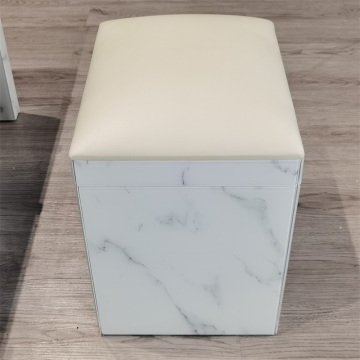 marble pattern white glass stool