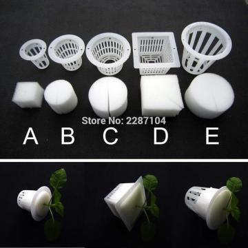 10pcs White Mesh Pot Net Cup Basket + Clone Collar Foam Insert Hydroponic Aeroponic Vegetable Plant Grow Seed Germinate 5 size
