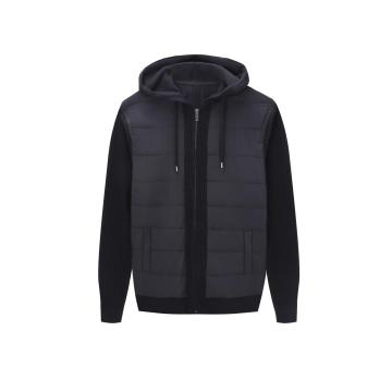 Men's Knitted Zip-through Woven Front Textured Knit Hoodie