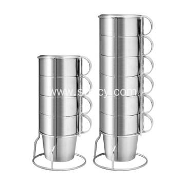 Double Wall Stainless Steel Coffee Cup With Shelf