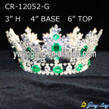 Light Green Silver Plated Rhinestone King Crown