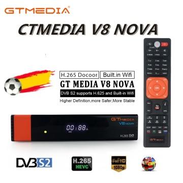 1080P HD DVB-S2 GTmedia V8 Nova Satellite TV Receiver Support RCA Built in WIFI power by Freesat V8 Super