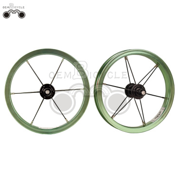 Green 6061 alloy rim 12H 12inch wheel set