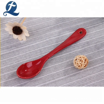 Wholesale Red Ceramic Coffee Soup Spoon With Your Logo Print
