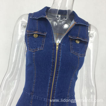 New Types of Women Causal Sleeveless Denim Dress
