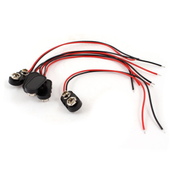 5 x black plastic case 14, 99 cm 2 - cable connector 9 V rechargeable battery