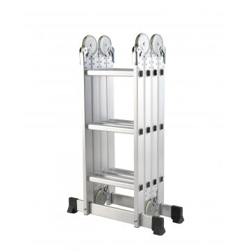 Adjustable multi-purpose aluminium folding step ladder with platform