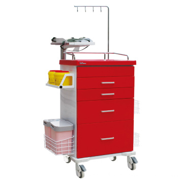 Hospital Steel Drawer Defibrillator Shelf Emergency Trolley