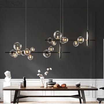 Nordic Magic Beans Livingroom Led Chandelier Retro Art Molecular Glass Ball Dininroom Cafe Bar Decor Suspension Light Fixtures