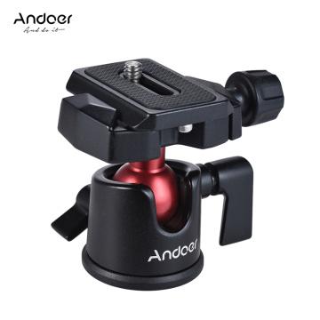 Andoer Mini Ball Head Ballhead Tabletop Tripod Stand Adapter w/Quick Release Plate for Canon Nikon Sony DSLR Camera Camcorder