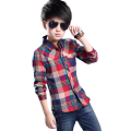 Boys Spring Autumn Cotton Long-sleeved Checked Shirts