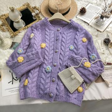 Gentle Knitting Cardgian Women Autumn Korean Taro Purple Small Fresh Sweet Handmade Knitted Froal Overcoat Girl Sweater Jacket