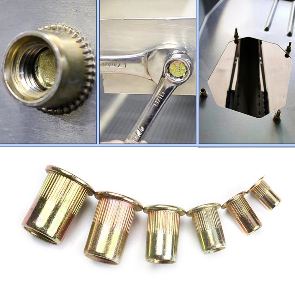 150pcs/set M3 M4 M5 M6 M8 M10 Carbon Steel Rivet Nuts Insert Rivets Multi Size Flat Head Rivet Nuts Set Threaded Insert Nut Kit