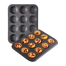 12-Holes Carbon Steel Non Stick Muffin Pan-Black