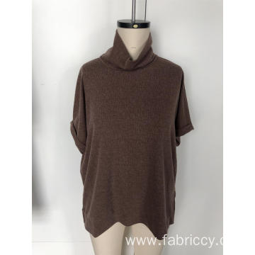Knit short sleeve shirt with high neck