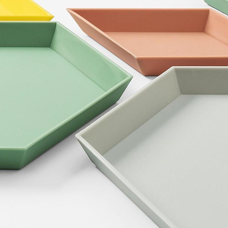 1 Set Storage Tray Nordic Style Polygon Desktop Combination Storage Tray Geometric Dish Dry Fruit Plate Home Decoration Plate
