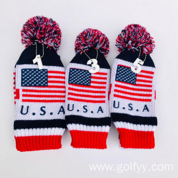 Golf knitting three-piece club cap