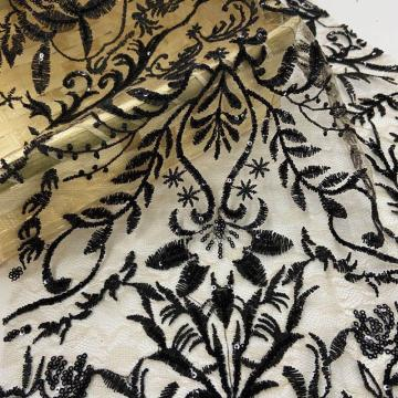 Occidental Delicate Inflorescence Sequin Embroidery Fabric