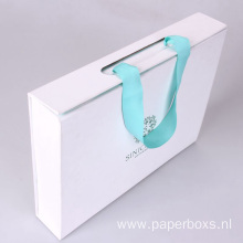 Mint Green Foldable Paper Box With Ribbon Handle