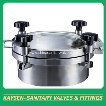 Sanitary circular manways with pressure