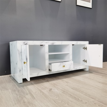 marble pattern white glass tv unit