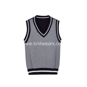 Boy's Knitted Pure Cotton Contrast Color School Vest