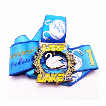 Custom enamel swan animal medals for sale