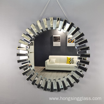 3D effect round shape MDF hanging mirror