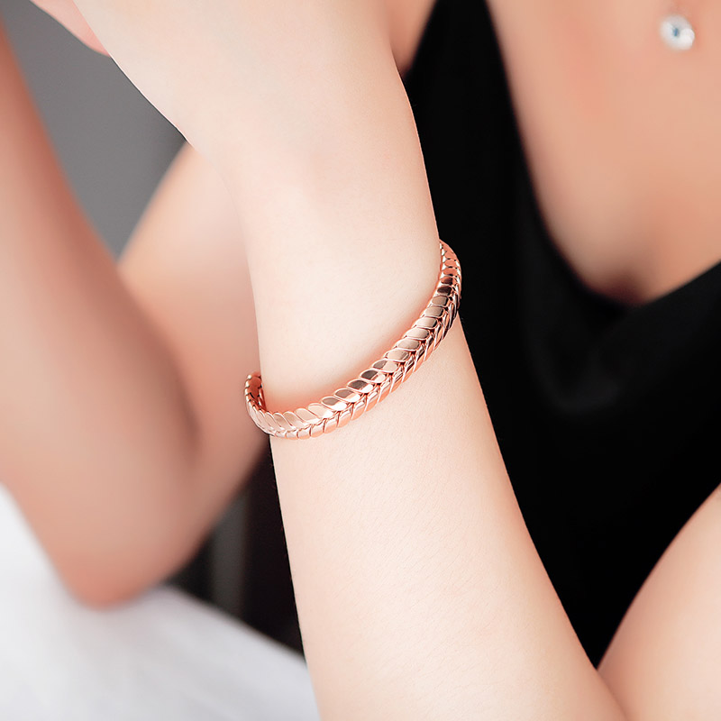 New Wheat Design Pink Gold Open Cuff Bracelet