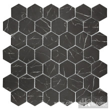 "Nero Marquina 2"" Hexagon Glass Tiles"