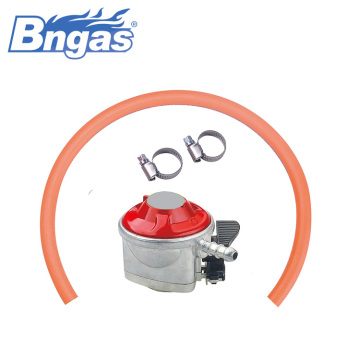 Gas oven safety valve regulator with rubber hose