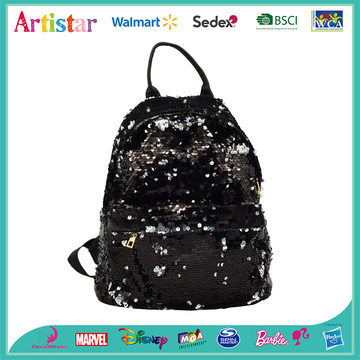 black and silver sequins backpack
