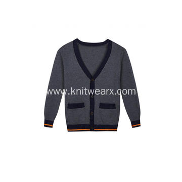 Boy's Knitted Pocket Buttoned Contrast Edge School Cardigan