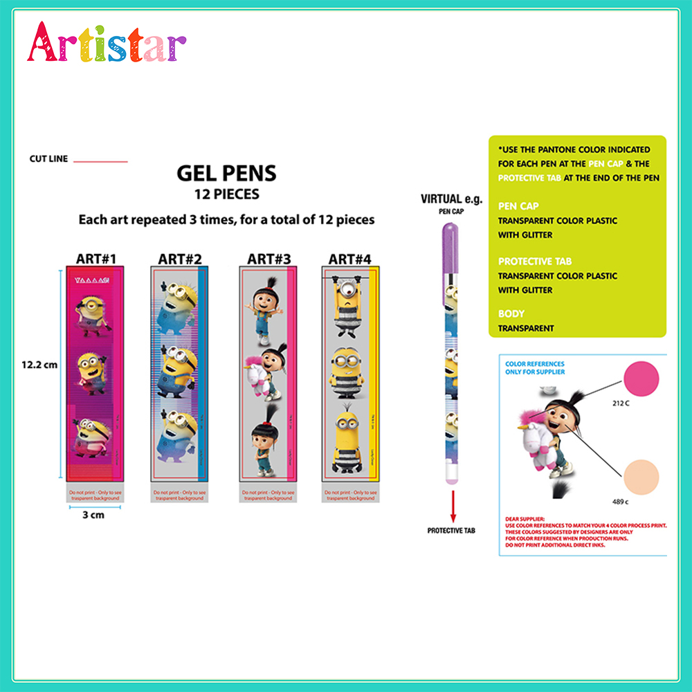 Minions 12 Gel Pens With Blister Card