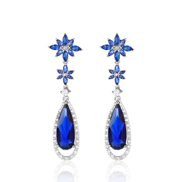 Blue Sapphire Stone Exquisite Lady Flower Earrings