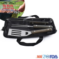 3pieces wooden BBQ Grill Tools Set with bag