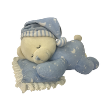 Plush Bear Sleeping On Pillows Blue