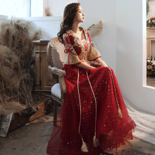Sexy Sequins Embroidered Flared sleeve Prom Dress Evening Gown Qipao Cheongsam Luxurious Chinese Wedding Evening Dress