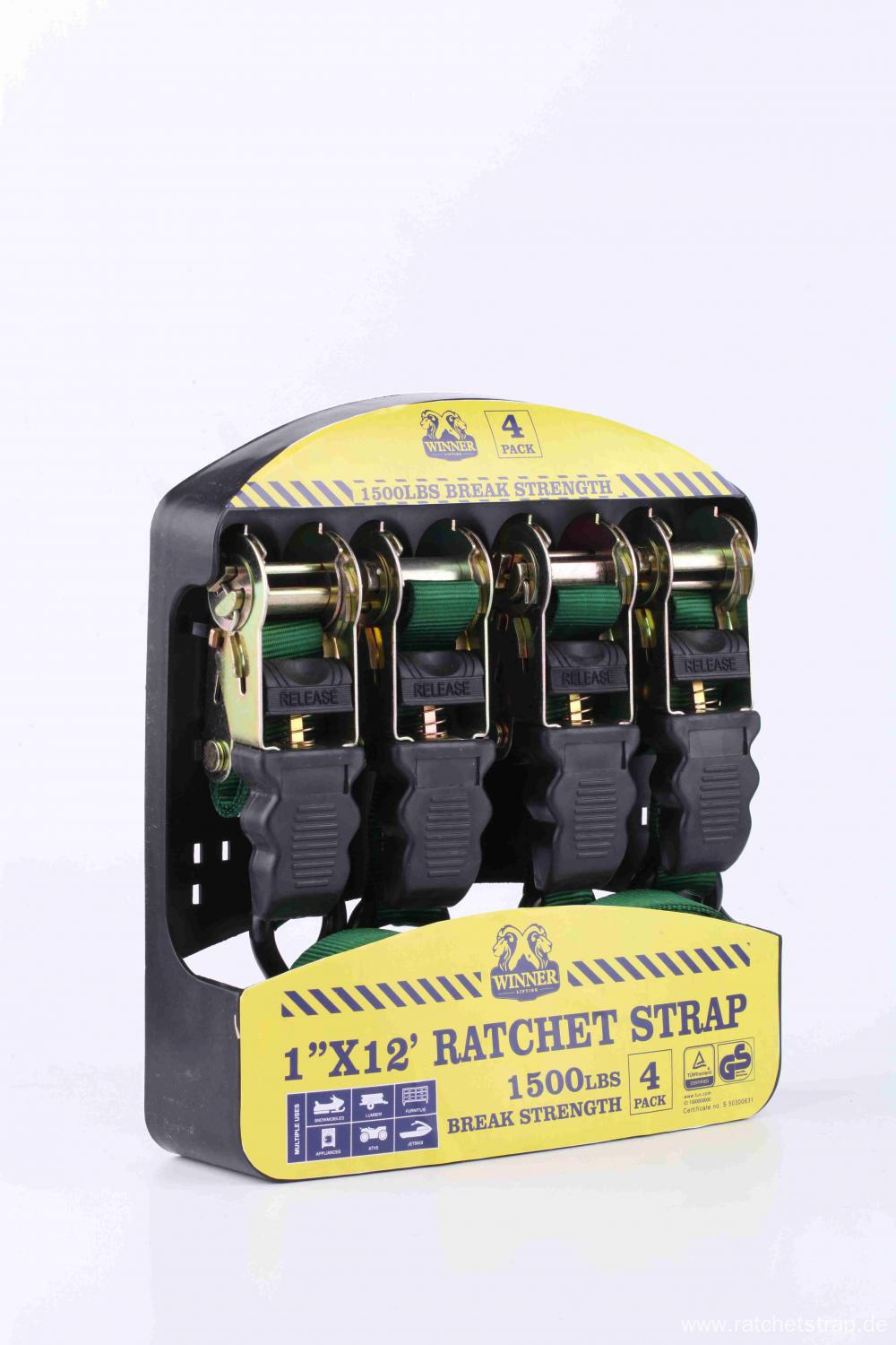 25mm Rubber Handle Packaged Ratchet Strap