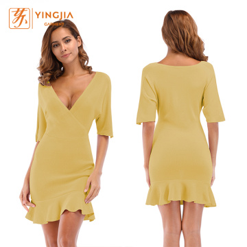 Women Ruffled V-neck Knit Self-cultivation Bandage Dresses