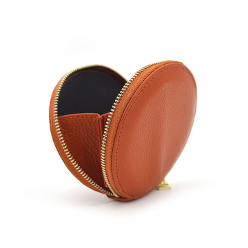 Custom Ladies Round Pu Leather Zipper Coin Purse