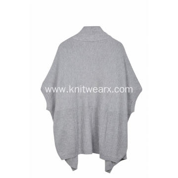Women's Knitted Open Front Ribbed Poncho Cape