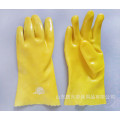 Yellow PVC dipping gloves